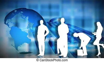 Business people posing in front of the Planet