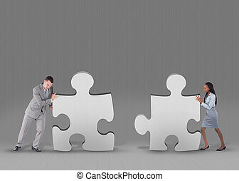 Business people problem solving - Business people pushing...