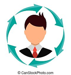 Business people profile with arrow icons
