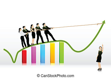 Business People pulling Arrow on Bar Graph