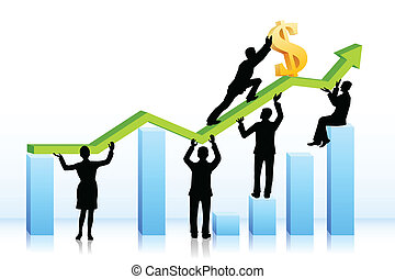 Business people pushing Dollar on Graph