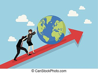 Business people pushing the world on graph up