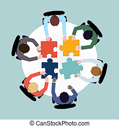 Business team meeting brainstorming concept top view group people on table with puzzle vector illustration