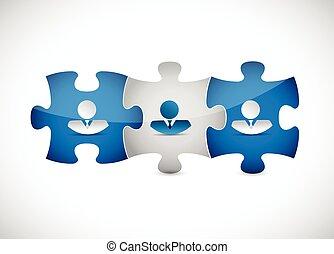 business people puzzle pieces illustration