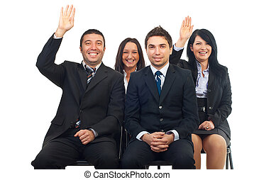 Business people raise hands - Business people at course or ...