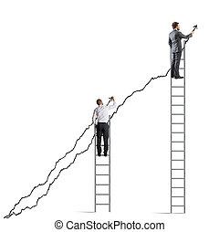 Business people raise the statistics