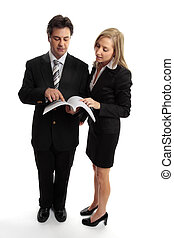Business people reading contract or report