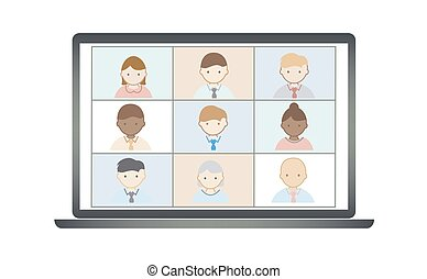 Business people remote work vector. Online video conference ...
