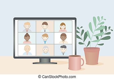 Business people remote work vector. Online video conference concept.