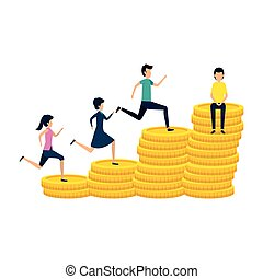 business people running in coins