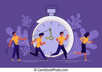 Business People Running In Office