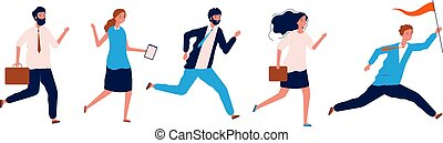 Business people running. Leader couching manager walking with team holding red flag vector leadership concept