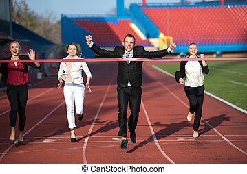 business people running on racing track - business people...