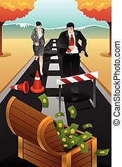 Business people running on the road reaching a goal