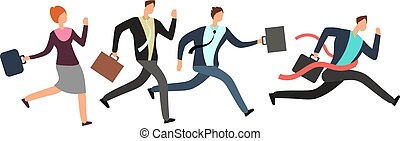 Business people running with leader crossing finish line. Teamwork and leadership vector concept