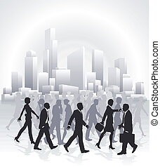 Business people rushing in front of city skyline
