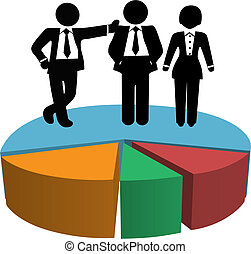 Symbols of a team of 3 Sales people own big market share on a business pie chart