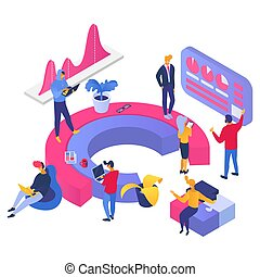 Business people searching information on laptop and standing at graphic, vector cartoon illustration on white isolated background.