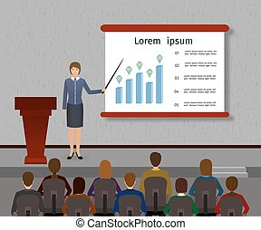 Business people seminar. Group office employee and speaker with podium on a management, finance, teamwork training.