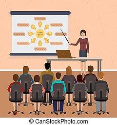 Business people seminar. Group office employee on a management, finance, teamwork training.