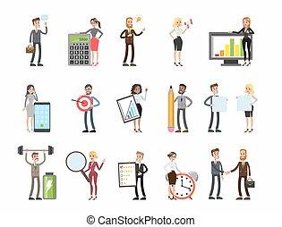 Business people set. men and women working, analysing data,...