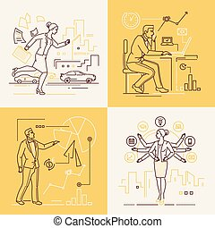 Business people - set of line design style illustrations