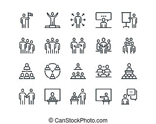Business people. Set of outline vector icons