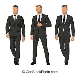 Business people, set of three characters in dark suits. Front view