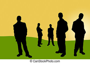 business people shadows - business team series illustrations