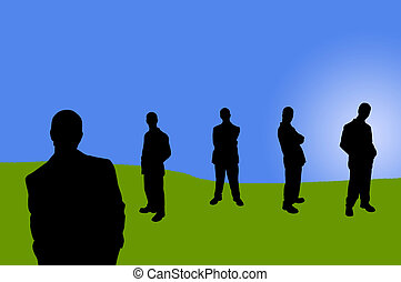 business people shadows - business team series on blue