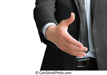 Business people shake hand to deal with you - isolate