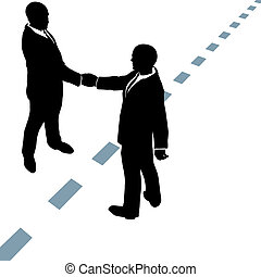Business people shake hands agree on dotted line