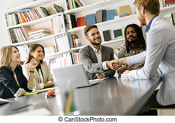 Business, people shaking hands