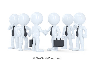 Business people shaking hands at meeting. Isolatred. Contains clipping path