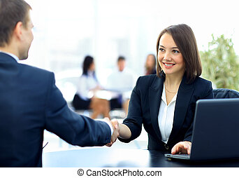 business people shaking hands - Two professional business...