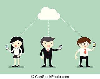 Business people share data via cloud computing.