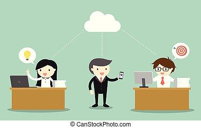 Business people share ideas via cloud computing.