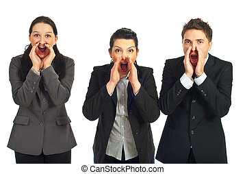 Business people shouting out loud