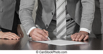 Business people sign up contract