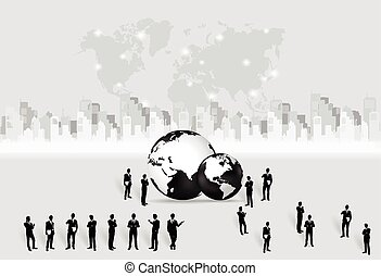 Business people silhouettes and modern globe with building background. Vector illustration.