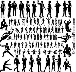 Business People Silhouettes Big Set - A set of many very...