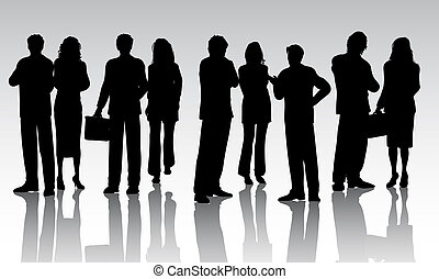 Business people - Silhouettes of a crowd of business people
