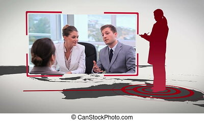 Business people silhouettes on diff