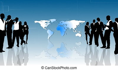 Business people silhouettes standing in front of the planet