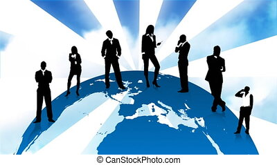 Business people silhouettes standing on the planet