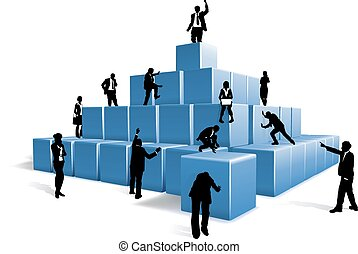 Business People Silhouettes Team Building Blocks