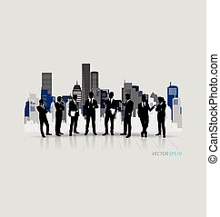 Business people silhouettes with building background.