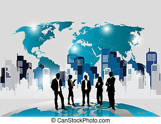 Business people silhouettes with building background. Vector...