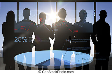 business people silhouettes with pie chart