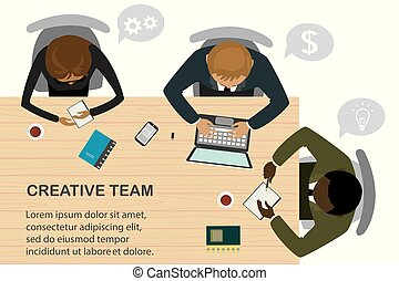 Business people sit at the table, team work, top view